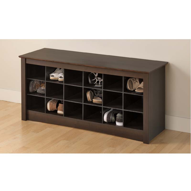 view a larger image of the prepac entryway shoe storage cubbie bench