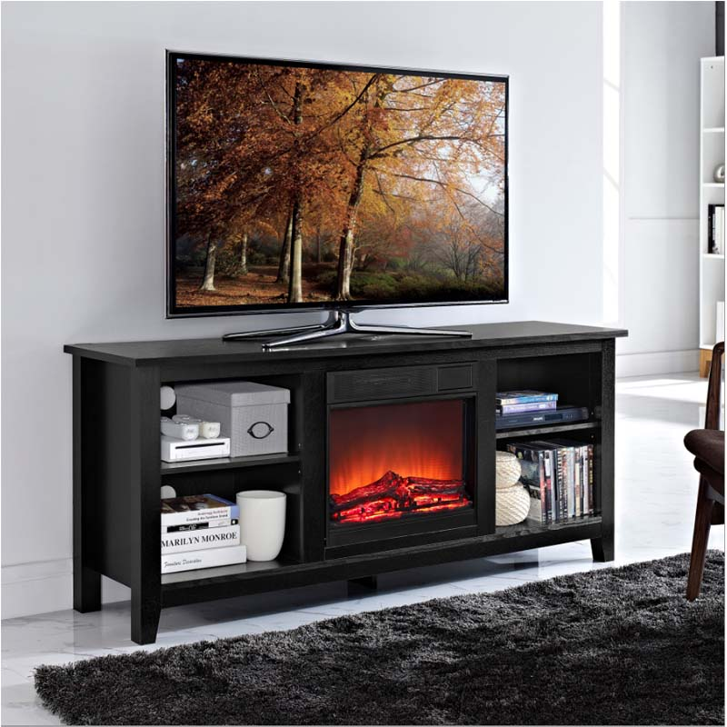 Walker Edison 60 inch TV Stand with Fireplace Insert Black