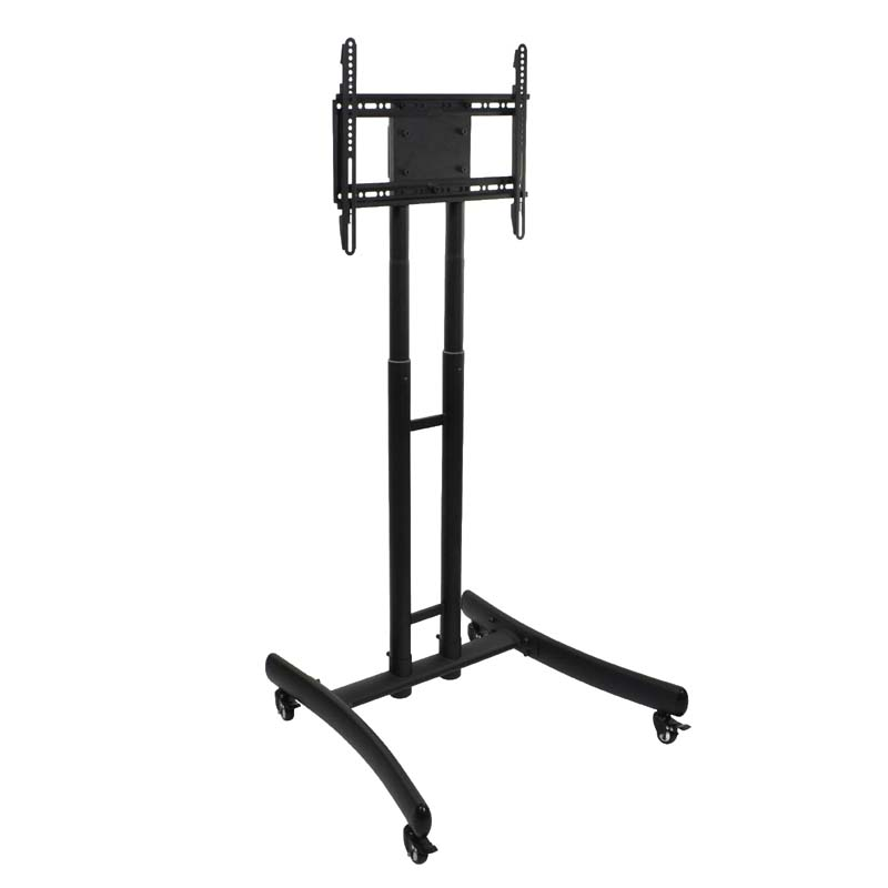 luxor height adjustable rolling 70 inch tv stand with tv mount black fp1000