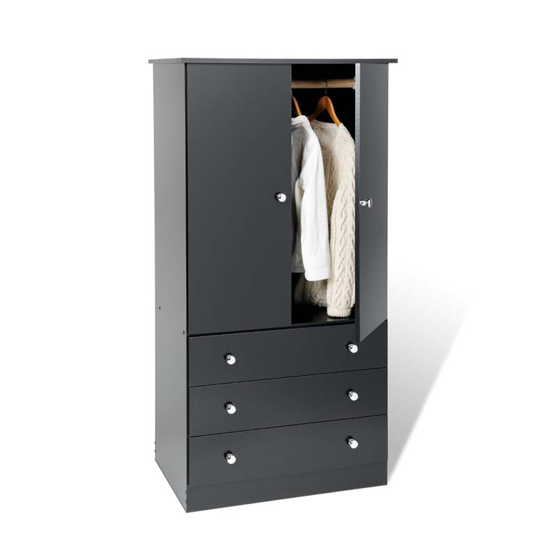 Prepac edenvale collection 3 drawer wardrobe various for Wardrobe finishes