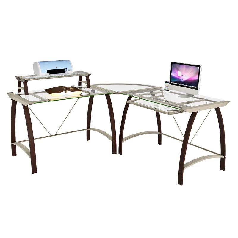 view a larger image of zline designs kayden corner desk with hutch espresso - Glass L Shaped Desk