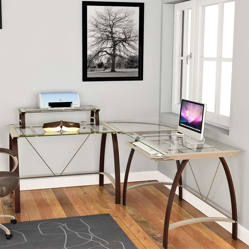 Z Line Designs Kayden Corner Desk With Hutch Espresso Clear Glass Zl170 01ldu