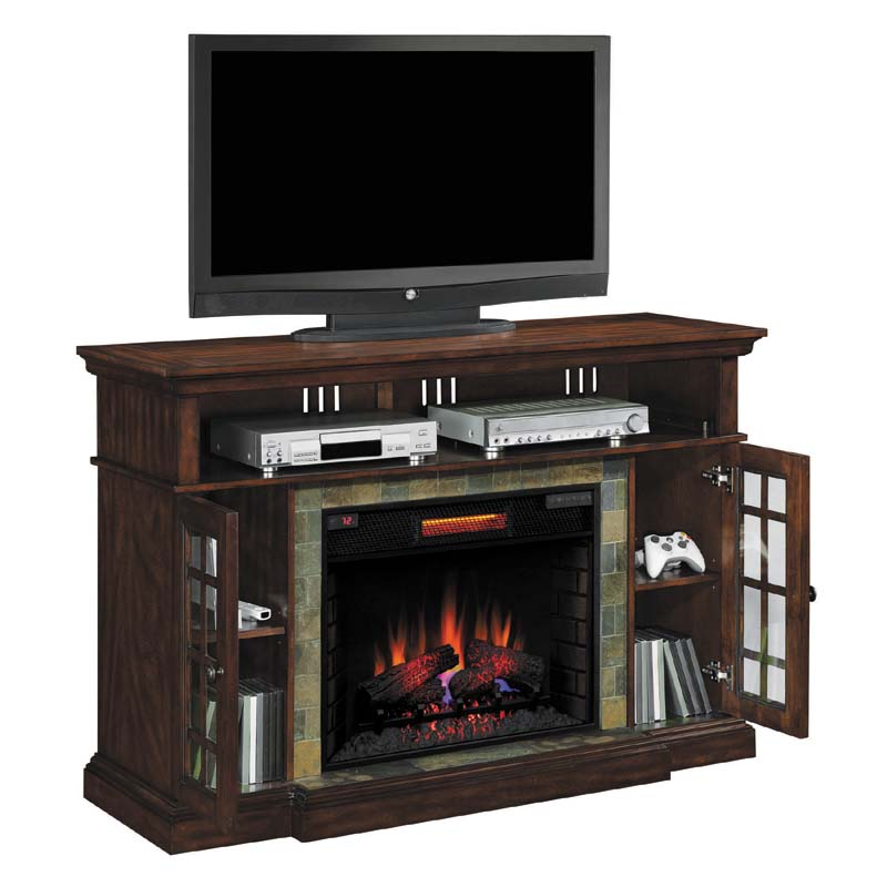 classic flame lakeland 65 inch tv stand with electric fireplace insert cherry 28mm6307 c270. Black Bedroom Furniture Sets. Home Design Ideas