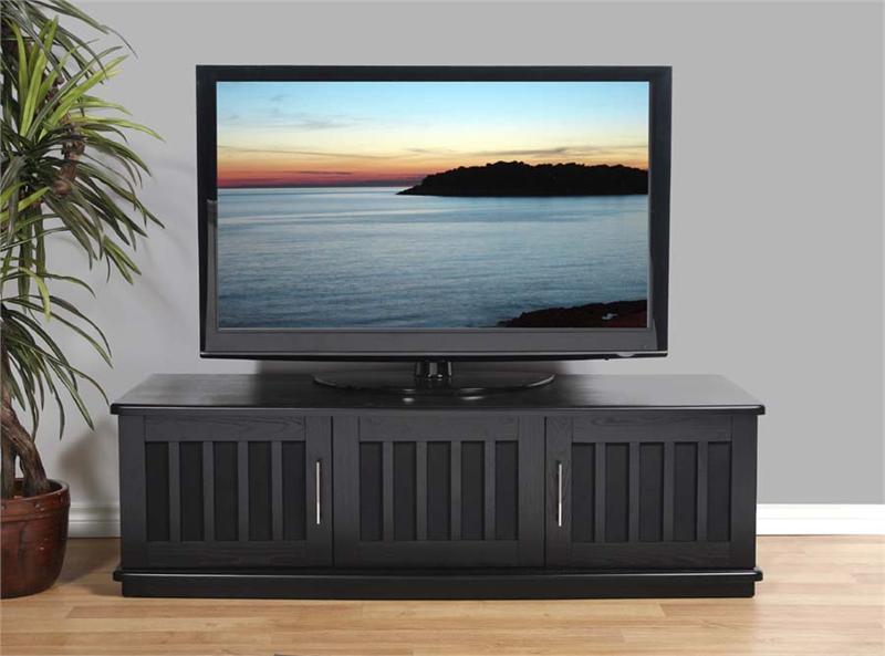 plateau lsx series slatted wood tv stand for 43 65 inch screens black or walnut lsx d62. Black Bedroom Furniture Sets. Home Design Ideas
