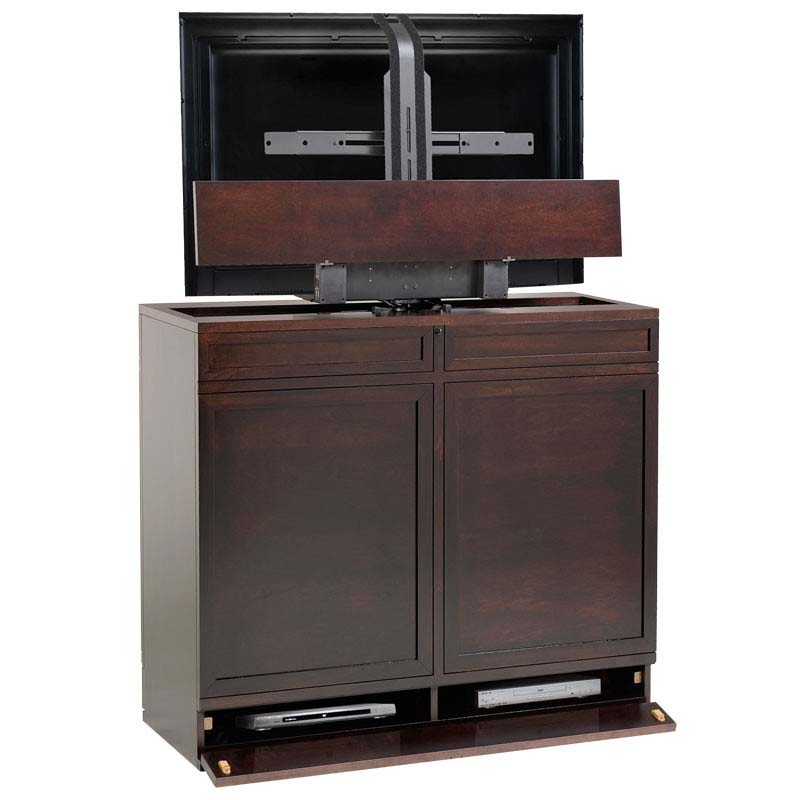 tv lift cabinet moderna series 360 swivel lift for 36 to 42 inch screens espresso at006517. Black Bedroom Furniture Sets. Home Design Ideas