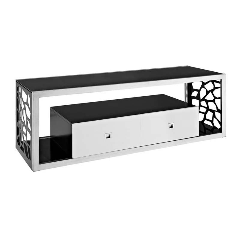 Walker Edison Modern Mosaic 65 Inch Tv Stand Silver And