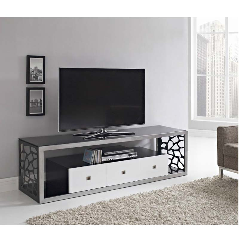 walker edison modern mosaic 70 inch tv stand steel and black glass v70msc. Black Bedroom Furniture Sets. Home Design Ideas