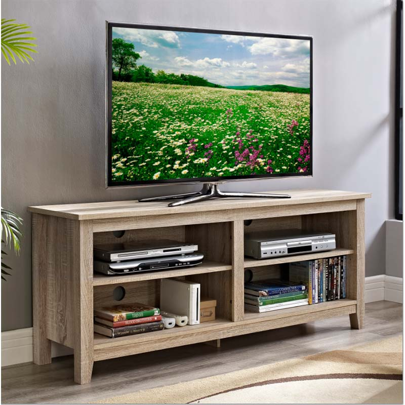 Walker Edison Urban Essentials 60 Inch TV Stand Natural