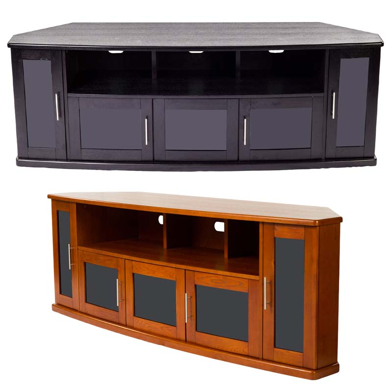 plateau newport series corner wood tv cabinet with glass doors for up to 90 inch screens black