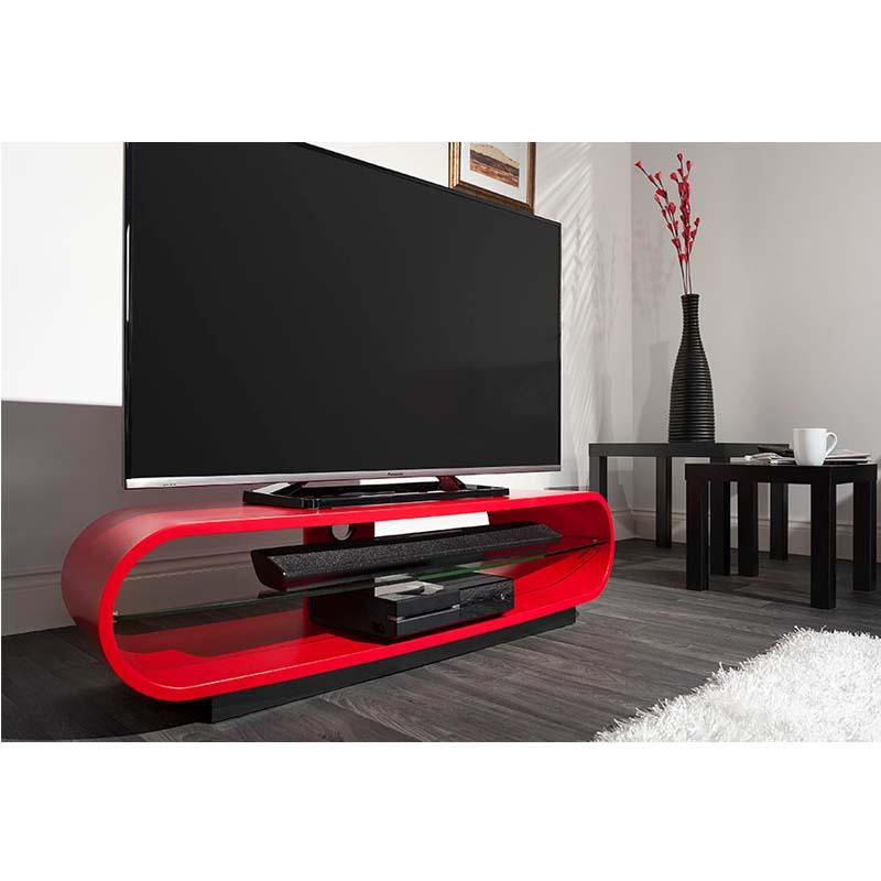 techlink ovid curve 65 inch tv stand satin red ovc130sr. Black Bedroom Furniture Sets. Home Design Ideas