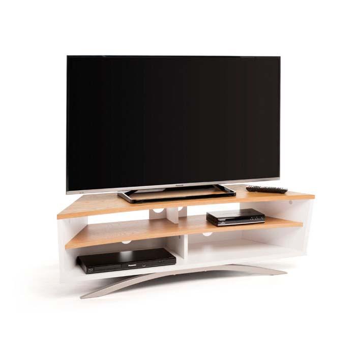 techlink prisma series 65 in corner tv stand white and oak pr130swlo. Black Bedroom Furniture Sets. Home Design Ideas