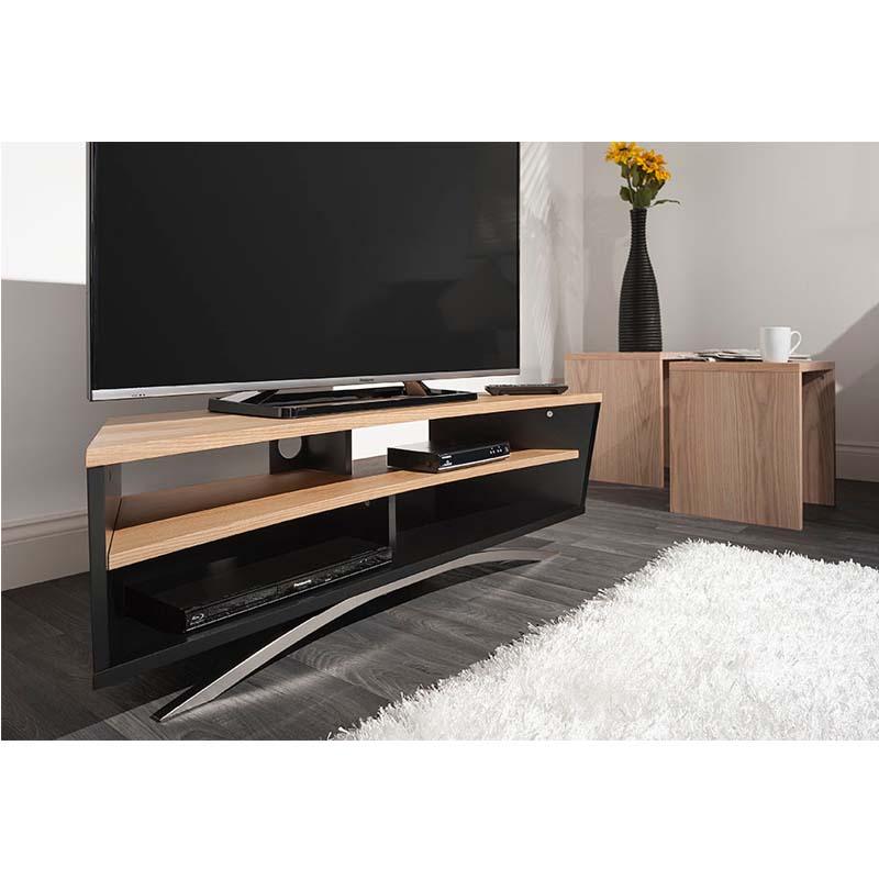 techlink prisma series 65 in corner tv stand black and oak pr130sblo. Black Bedroom Furniture Sets. Home Design Ideas