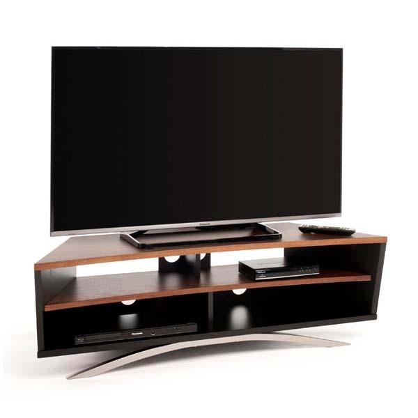 techlink prisma series 65 in corner tv stand black and walnut pr130sbw. Black Bedroom Furniture Sets. Home Design Ideas