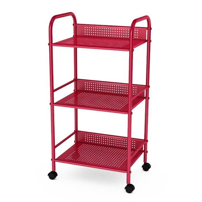 atlantic 3 tier storage cart on wheels red 38436006. Black Bedroom Furniture Sets. Home Design Ideas