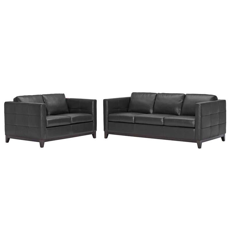 Wholesale Interiors Modern Black Leather Rohn Sofa And Loveseat Set