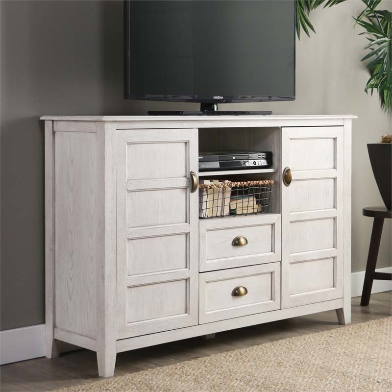 Walker Edison Angelo Rustic Chic 55 inch TV Cabinet White Wash ...