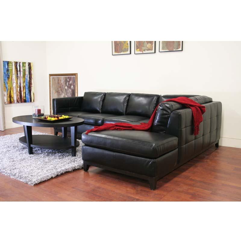 Wholesale interiors rohn modern black leather sectional for Black leather sectional sofa with chaise