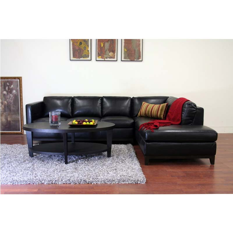 Wholesale interiors rohn modern black leather sectional for Black sectional with chaise