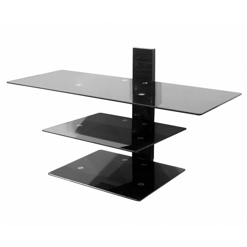 Avf wall mounted glass shelving system for 50 in tvs Wall mounted shelf systems
