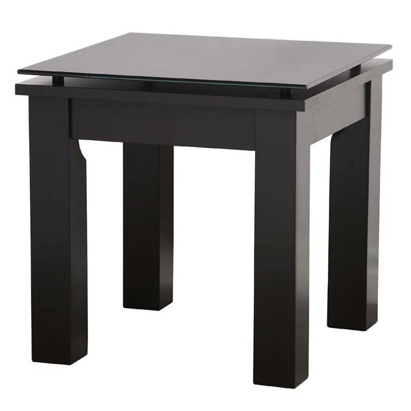 Plateau sl series black wood floating glass end table for Black wood end tables