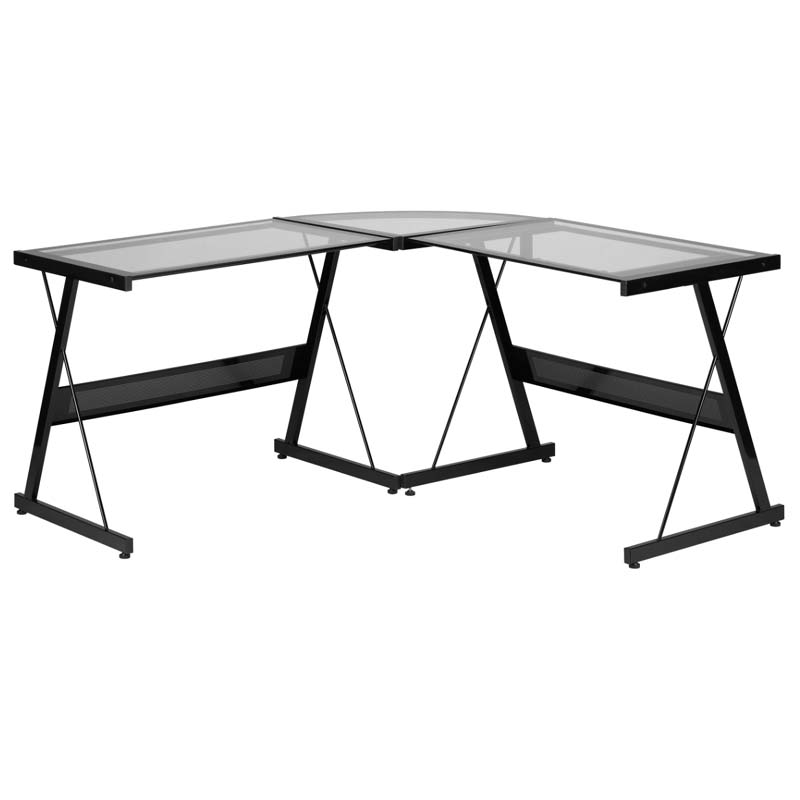 Z Line Designs Solano L Shaped Glass Computer Desk Black