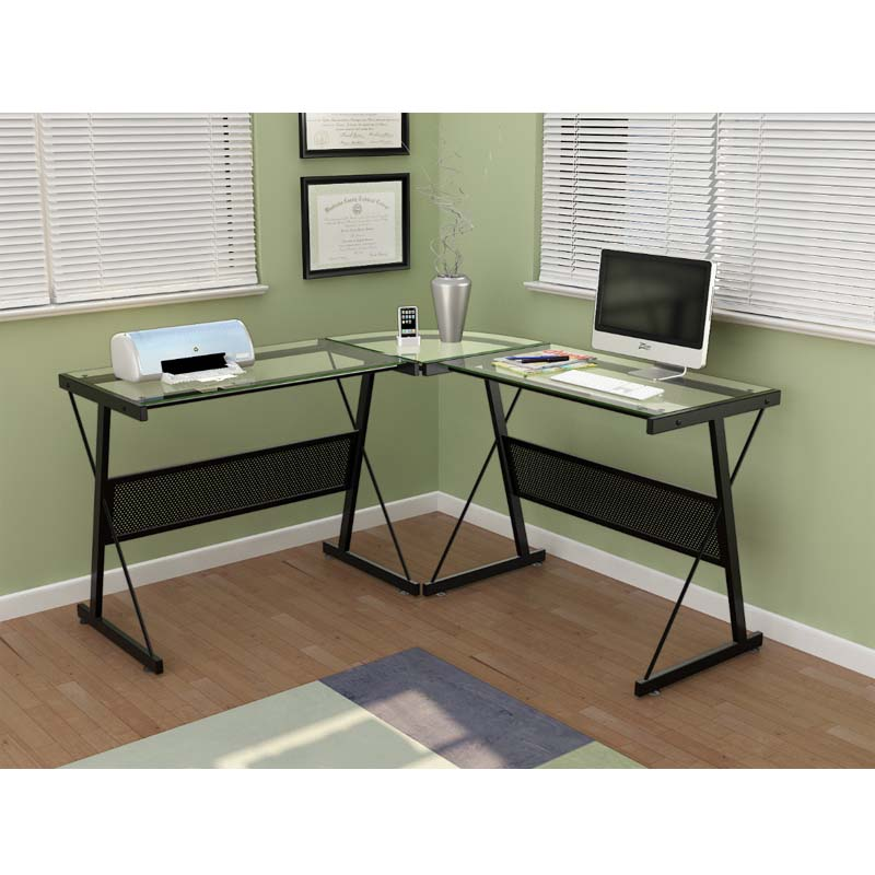 Z Line Designs Solano L Shaped Glass Computer Desk Black