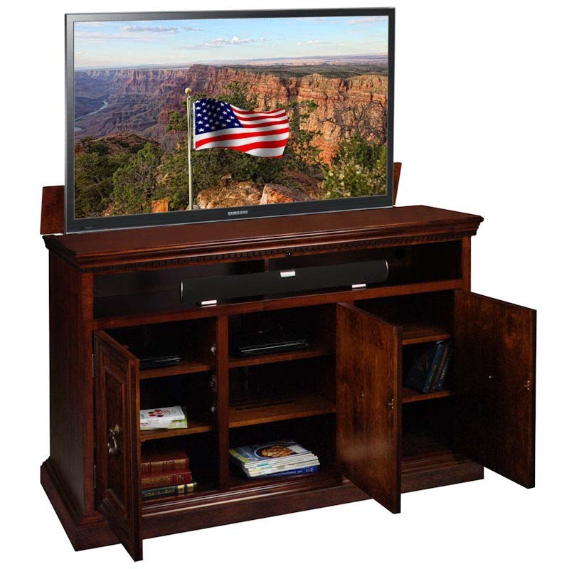 tv lift cabinet somerset lift for 40 to 60 inch screens asbury brown at006467. Black Bedroom Furniture Sets. Home Design Ideas