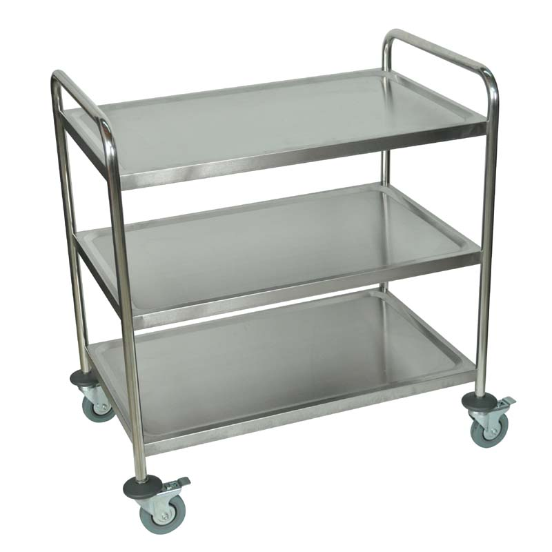 Luxor 3 shelf stainless steel utility cart silver st 3 for Kitchen utility cart