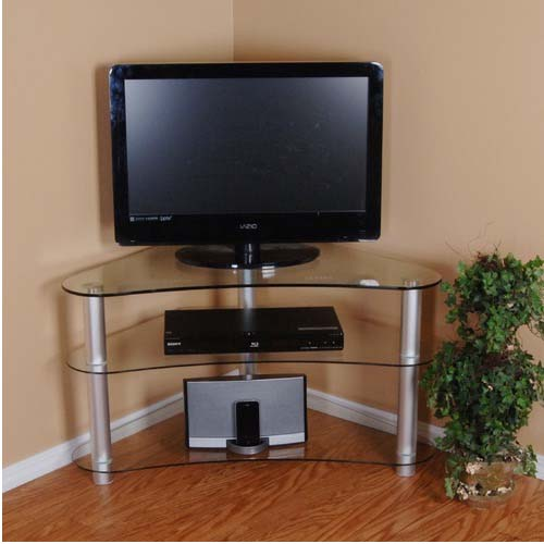 rta tier one designs curved 37 corner tv stand clear glass. Black Bedroom Furniture Sets. Home Design Ideas
