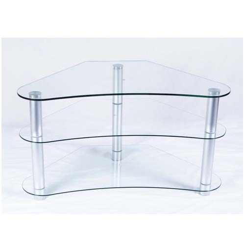 Rta Tier One Designs Curved 37 Corner Tv Stand Clear Glass
