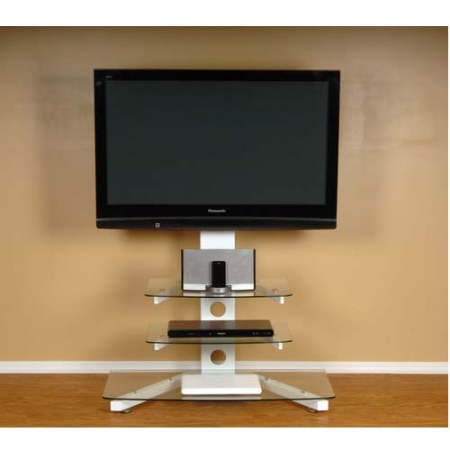 Rta Tier One Designs 55 Clear Glass Tv Stand With Tv