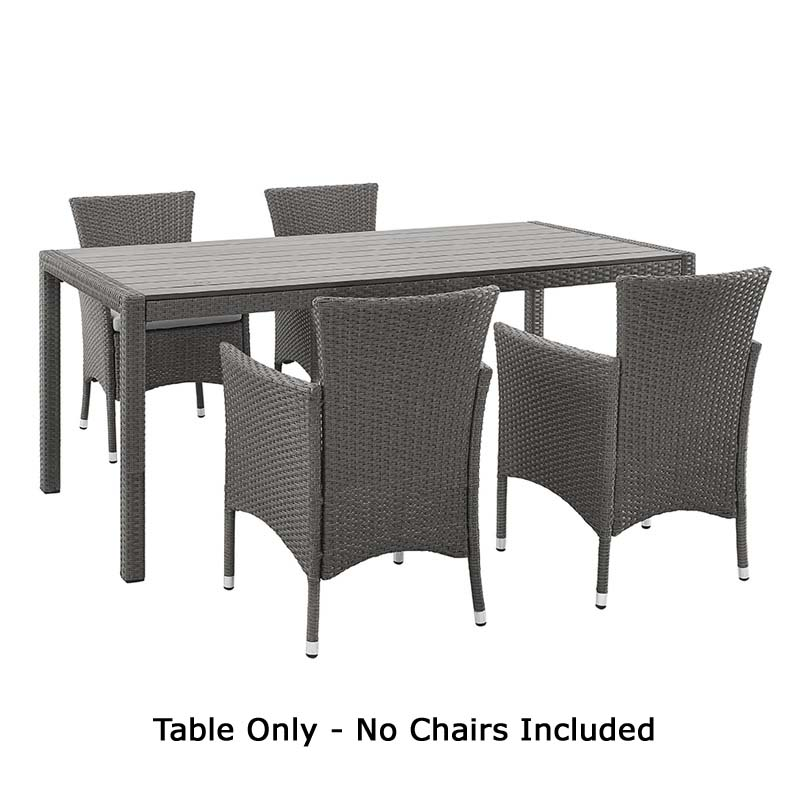 of walker edison angelo home rattan patio dining table grey ahrdtgy