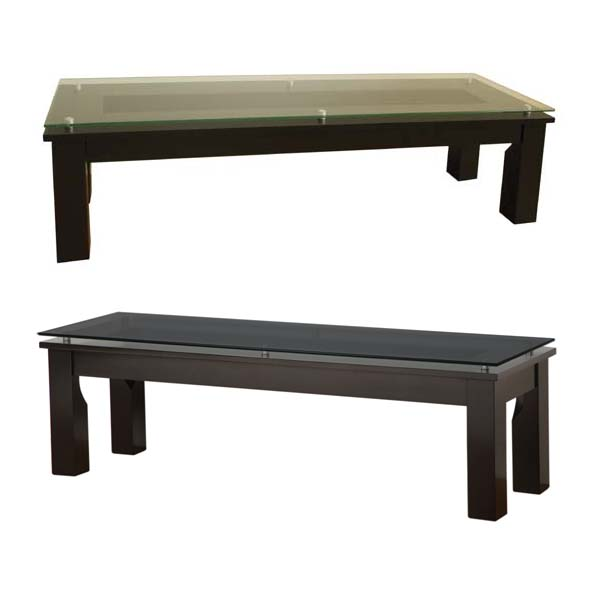 Plateau Sl Series Black Rectangular Floating Glass Coffee Table Clear Or Black Glass Sl Tcr