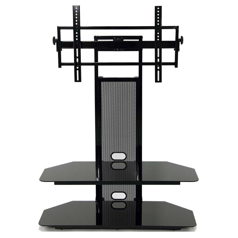 TransDeco Black Glass TV Stand With Integrated Flat Panel Mount For 32 60  Inch Screens (Black) TD560BCH