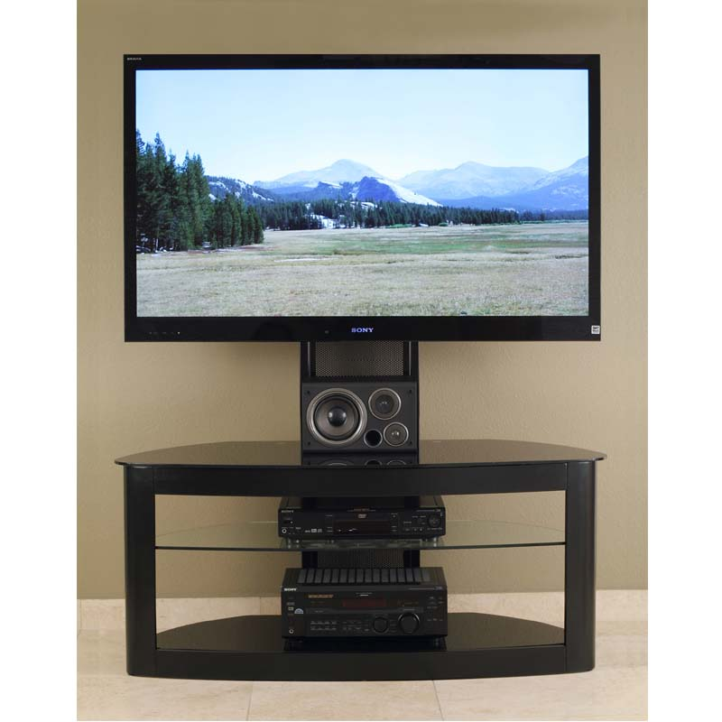 transdeco glass tv stand with mounting system for 35 65 inch screens black td600b. Black Bedroom Furniture Sets. Home Design Ideas