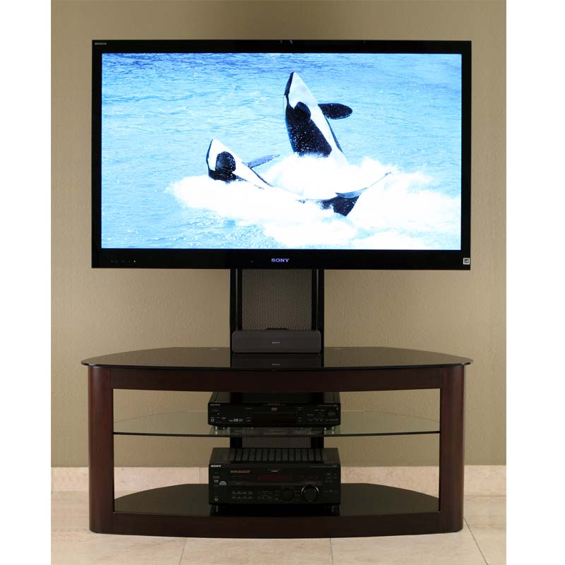 transdeco glass tv stand with mounting system for inch screens espresso td600es