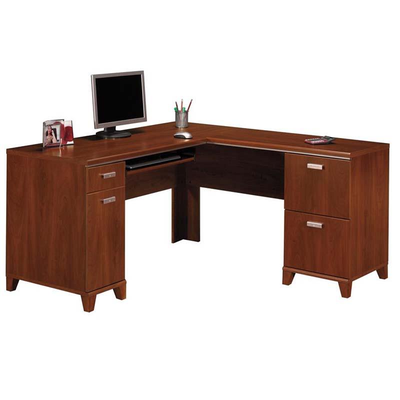 Bush Tuxedo Collection L Desk Hansen Cherry WC 03