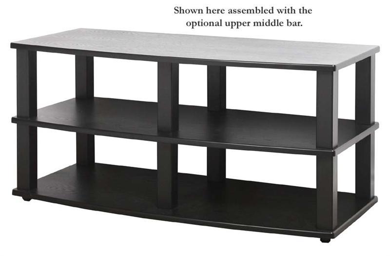 plateau xt series heavy duty 3 shelf black wood tv stand for 30 43 inch screens xt v344bb. Black Bedroom Furniture Sets. Home Design Ideas