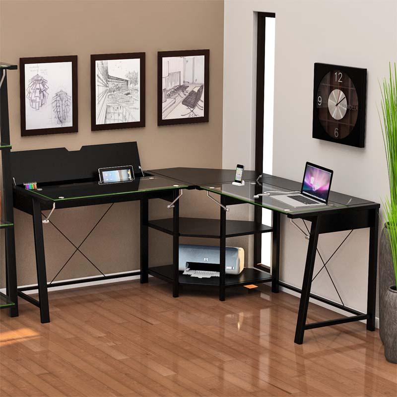 Z Line Designs Vance Corner Desk With Hidden Storage Black