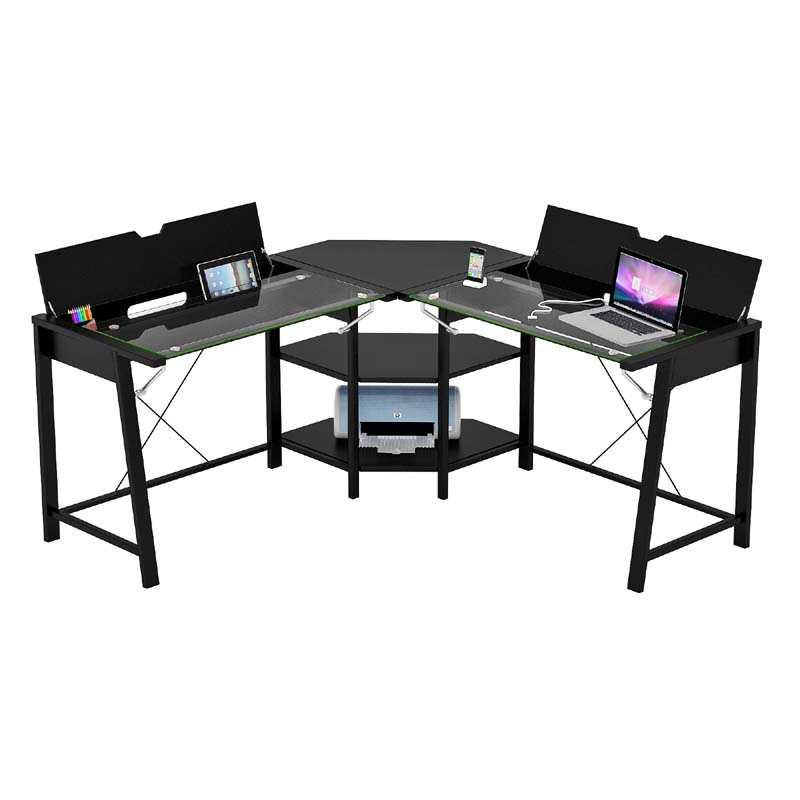 Z Line Designs Vance Corner Desk With Hidden Storage Black