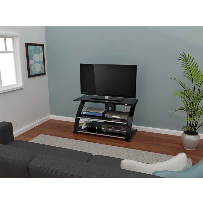 z line designs vitoria 40 inch tv stand with black glass. Black Bedroom Furniture Sets. Home Design Ideas