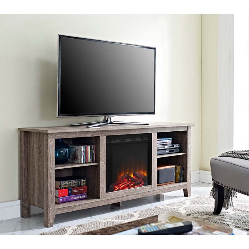 Walker Edison Driftwood 60 inch TV Stand with Fireplace Insert Ash Grey W58FP18AG is on sale now. This flat panel television stand includes an electric fireplace insert. No electrician required