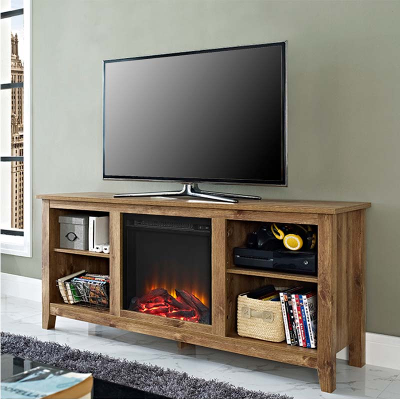 Walker Edison Barnwood 60 Inch Tv Stand With Fireplace Insert W58fp18bw