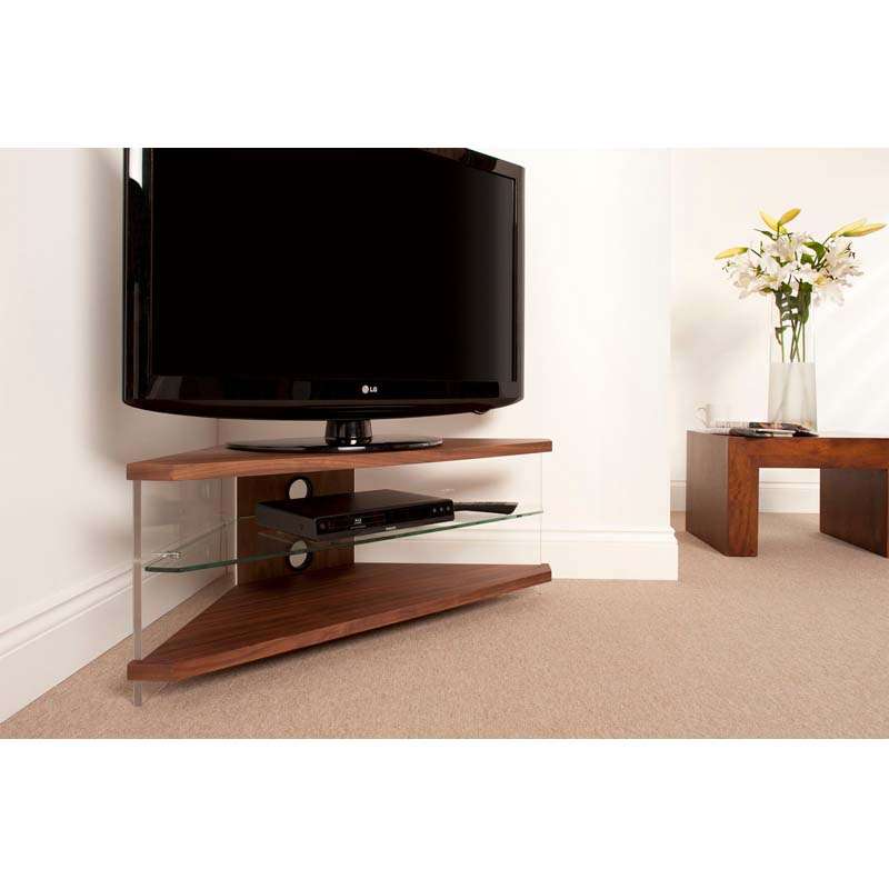 techlink air series 46 in corner tv stand walnut acrylic. Black Bedroom Furniture Sets. Home Design Ideas
