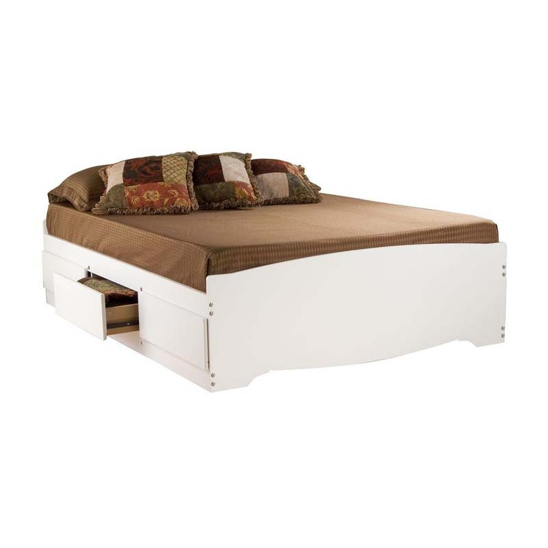 Prepac Full Size Platform Bed With 6 Drawers White Wbd
