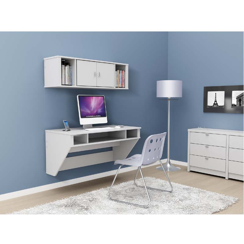 Prepac Designer Wall Mounted Floating Desk White Wehw 0500 1