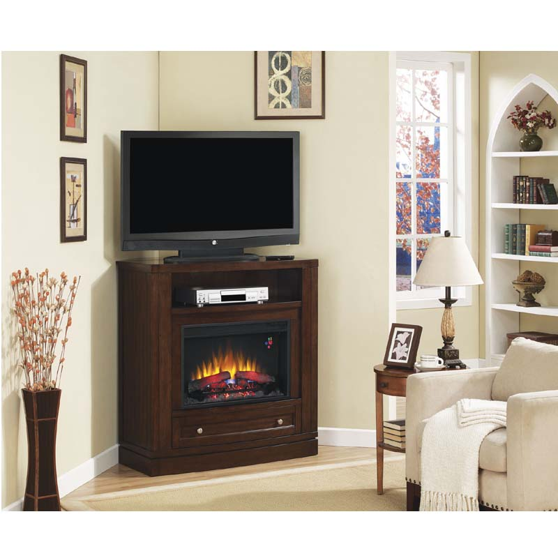 Classic Flame Wesleyan Corner Media Mantel with Electric ...