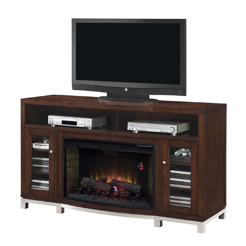 classic flame wesleyan deluxe metal base tv stand with