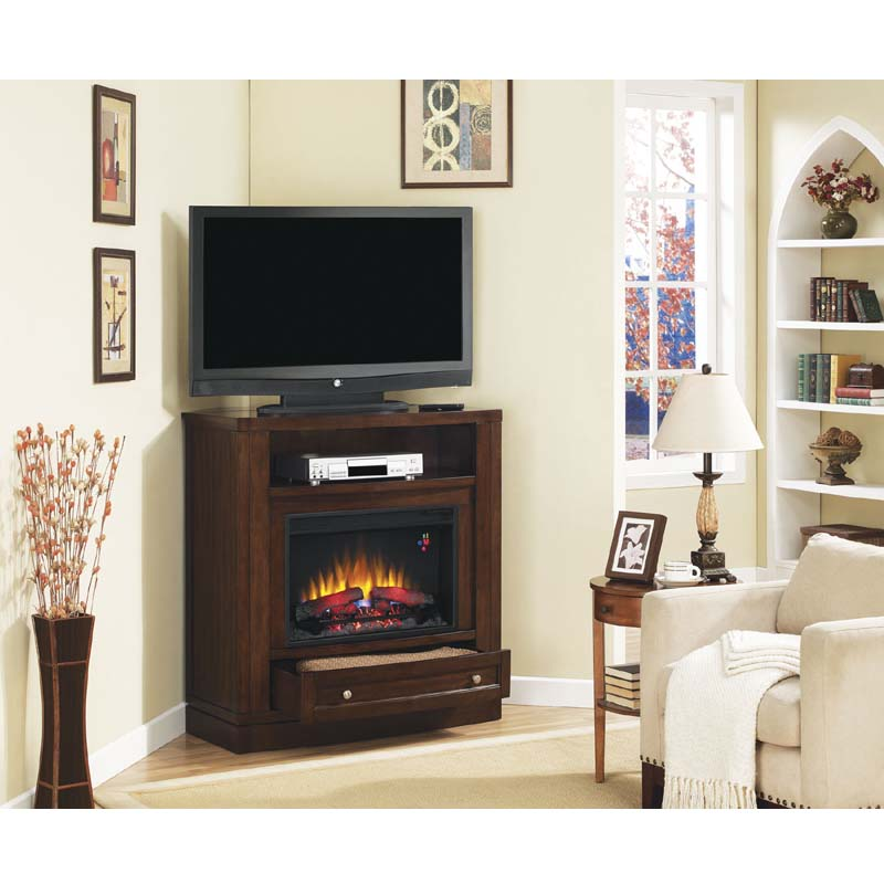 classic flame wesleyan corner media mantel with electric