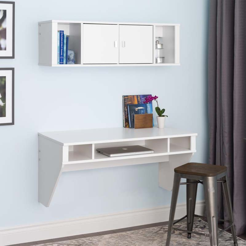 Prepac designer wall mounted floating desk and hutch set white wrhw 0501 2m - Floating office desk ...